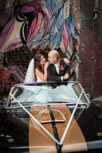Bride and Groom in a Mustang in Hosier Lane, Melbourne